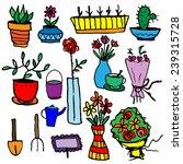 set of potted flowers  garden... | Shutterstock .eps vector #239315728