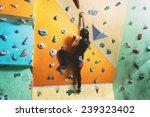 girl climbing up on practice... | Shutterstock . vector #239323402