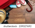 suitcase and tourist stuff with ... | Shutterstock . vector #239327692