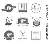 vector set of retro barber shop ... | Shutterstock .eps vector #239329876
