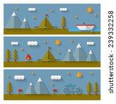 camping flat design banners set.... | Shutterstock .eps vector #239332258