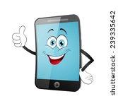 Smart Phone Cartoon On A White...