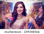 brunette with cocktail against... | Shutterstock . vector #239348566
