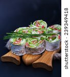 roll pita with salad and salted ... | Shutterstock . vector #239349418