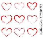 Hand Drawn Vector Heart Set...