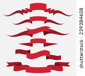 red ribbons set  flat design.... | Shutterstock .eps vector #239384608