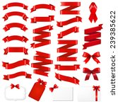 red ribbons big set with... | Shutterstock .eps vector #239385622