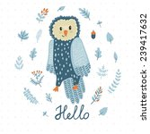 vector card with cute owl and... | Shutterstock .eps vector #239417632