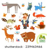 set funny forest little animals.... | Shutterstock .eps vector #239463466