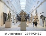 Small photo of LONDON, UK - DECEMBER 20: Victoria and Albert museum's Medieval and Renaissance room, with statue of Samson slaying a Philistine in the centre. December 20, 2014 in London.