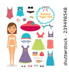 summer paper doll. girl with... | Shutterstock . vector #239498548