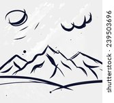 hand drawn mountains with clouds | Shutterstock .eps vector #239503696