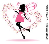 silhouette of a fairy with wings | Shutterstock .eps vector #239511802