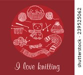 doodle knitting vector elements  | Shutterstock .eps vector #239525062