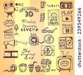 set of hand drawn cinema doodles | Shutterstock .eps vector #239549266