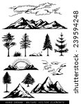 Hand Drawing Mountains Pines...