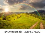 collage landscape. fence near the meadow path on the hillside. village near forest in mountains in sunset light with rainbow - stock photo