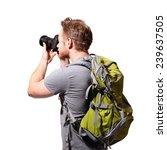 Young Man Tourist Use Camera...