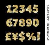 gold glittering  metal alphabet ... | Shutterstock .eps vector #239638498