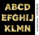 gold glittering  metal alphabet. | Shutterstock .eps vector #239638636