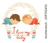 cute baby card with two babies... | Shutterstock .eps vector #239702692