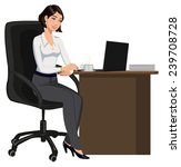 office woman behind a desk with ... | Shutterstock .eps vector #239708728