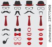 retro party set   glasses  hats ... | Shutterstock .eps vector #239773408