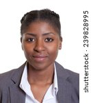 Stock photo passport picture of a smiling african businesswoman 239828995