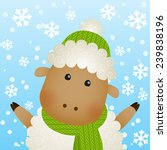 funny cartoon sheep on winter... | Shutterstock .eps vector #239838196