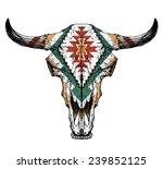 Bull   Auroch Skull With Horns...