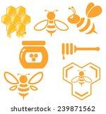 bee and honey set. vector  | Shutterstock .eps vector #239871562