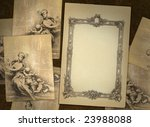 Vintage blank on the renaissance background with sheets graphic - stock photo