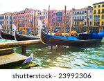 Nice view of anchored gondolas on Grand Canal in Venice - stock photo