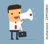 businessman holding a megaphone ... | Shutterstock .eps vector #239930842
