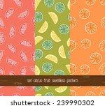 set of citrus seamless pattern. ... | Shutterstock .eps vector #239990302
