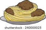 big plate of spaghetti and... | Shutterstock .eps vector #240000025