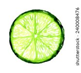 Slice Of Fresh Lime On White...