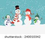 Family Of Happy Snowman