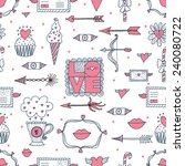 valentine seamless pattern. | Shutterstock .eps vector #240080722