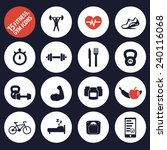 15 fitness  gym icons vector... | Shutterstock .eps vector #240116068