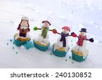 a row of cupcakes decorated...   Shutterstock . vector #240130852