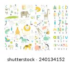 cute zoo alphabet with funny... | Shutterstock .eps vector #240134152