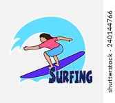 surfer's drawing on the... | Shutterstock .eps vector #240144766