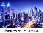 Dubai downtown night scene  uae ...