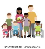 disabled children with friends... | Shutterstock .eps vector #240180148