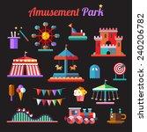 set of flat design amusement... | Shutterstock . vector #240206782