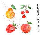 fruit watercolor blot | Shutterstock .eps vector #240207775