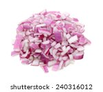 Red Onion Chopped On White