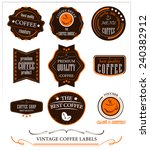 vintage coffee labels vector... | Shutterstock .eps vector #240382912