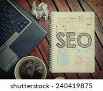 notebook with text inside seo... | Shutterstock . vector #240419875